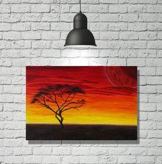 "Original Wandbild ""Akazie"" von FarbenfrohGalerie auf Etsy #acrylmalerei #acrylic #painting #akazie #bäume #baum #tree #sonnenuntergang #sundown"