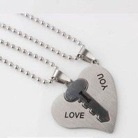 US$5.99    One Pair Couple Necklace I Love You Lock Key Heart Stainless Steel Pendant For Lover Gift