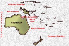 Oceano Pacífico e seus acidentes marítimos: Mar de Arafura.- Mar de Timor - Mar de Coral – Mar da Tasmânia; ...