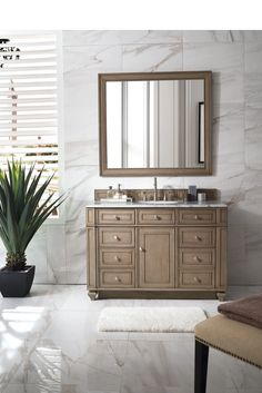 "48"" Bristol Whitewashed Walnut Single Bathroom Vanity"