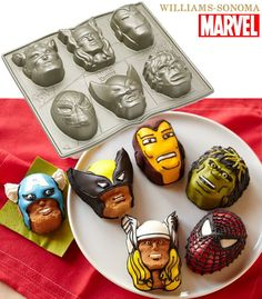 Nordic Ware Marvel Comics Cakelet Pan: Wolverine, Iron Man, Captain America, The Incredible Hulk, Thor and Spinder-Man: Kitchen & Dining Mini Cake Pans, Mini Cakes, Cupcake Cakes, Cup Cakes, Superhero Cookies, Superhero Cake, Williams Sonoma, Wolverine, Marvel Cake