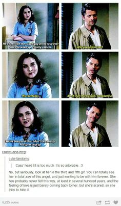 Meg and Cas. This is so ADORABLE. The headcannons. OMG. #FEELS