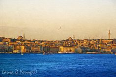 Fine Art Photography Morning Sunrise Over Ocean and Mosques Istanbul Turkey Coastline Travel Landscape Print Home Wall Decor Photo by FineArtography