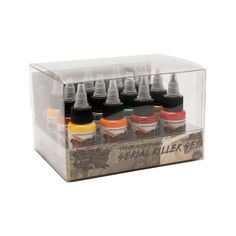World Famous USA Tattoo Ink Jason Ackernan Seral Killer Set 12 Colors -1oz