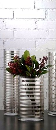 Egizia crystal vases with silver silk screened stripes,handmade in Tuscany by Paola Navone.