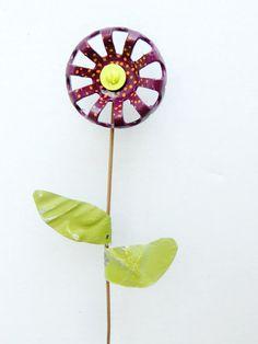 Autumn Garden Decor Flower Stake Upcycled Valve by ReclaimedGrace