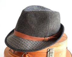 Tweed Fedora Hat Men Women Fall