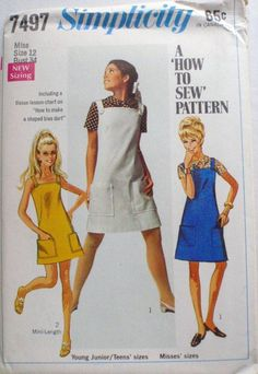Size 12 Bust 34 Sewing Pattern - How To Sew Sundress, Jumper, Pinafore Dress and Blouse - Simplicity 7497 - Uncut Robes Vintage, Vintage Outfits, Vintage Clothing, Vintage Dress Patterns, Clothing Patterns, 1960s Fashion, Vintage Fashion, Simplicity Sewing Patterns, 60s Patterns