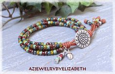 Multi-color Seed Bead Leather Wrap Bracelet/ Sunflower Wrap