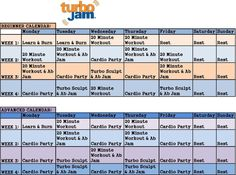 Turbo jam beginner & advanced schedule