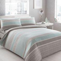 Home Collection Basics Aqua geometric striped 'Helsinki' bedding set | Debenhams