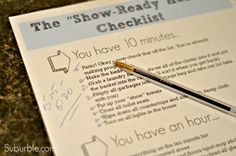 Show Ready Home Checklist - Fabulous printable from Suburble