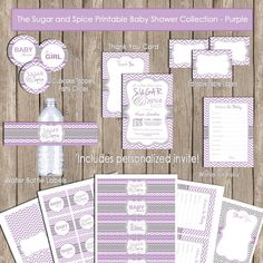 Sugar and spice baby shower invitation package by ModernBeautiful Baby Shower Brunch, Shower Party, Baby Shower Parties, Baby Shower Themes, Shower Ideas, Baby Showers, Baby Shower Purple, Butterfly Baby Shower, Purple Baby