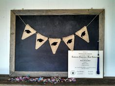 Graduation Caps Burlap Banner Triangle Flag Pennant Cap and Gown Bunting Graduation Party Sign on Etsy, $30.00