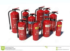 3D rendered group of detailed fire extinguishers  fire,group,alarm,batch,burning,carbon,chemical,container,danger,detail,dioxide,emergency,equipment,escape,extinguisher,extinguishing,firefighter,firefighting,flame,flammable