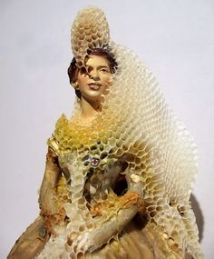 """I am interested in inter species communication. I have chosen to sculpt and draw collaboratively with the honeybees for the past 14 years. My research has included the bee's use of sound, sight, scent, vibration, and dance. I am studying the bee's use of the earth's magnetic fields as well as their use of the pheromones (chemicals) they produce to communicate with one another, with other species and possibly with the foliage they pollinate."""" – Aganetha Dyck"""