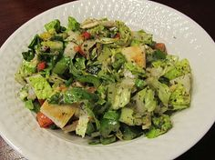Remembering a fattoush salad with Romaine lettuce and chicken.