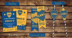 #Invitaciones, #tarjetas souvenir, pasa sorbetes (pajitas) #Boca #kitcumple #kitimprimible #tarjetascumple #fiesta #ideascumple