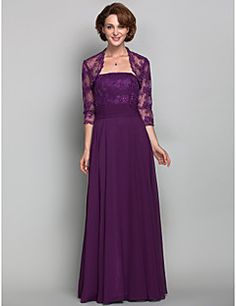 A-line Plus Size / Petite Mother of the Bride Dress - Wrap Included Floor-length 3/4 Length Sleeve Chiffon / Lace withBeading / Lace / – USD $ 125.99