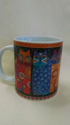 Laurel Burch 1995 Fantastic Felines Coffee Cup Mug Cats Kittens Cat #LaurelBurch