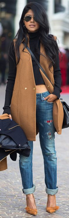 long wool vest, cropped turtle neck and denim #fall