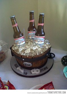 Ok...so this is a cake.  And yes, it's edible.  But did anyone else notice it's a Budweiser cake for an 18 YEAR OLD??!!!