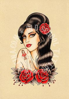 Amy Winehouse art tattoo Flash tattoo Old school by Crixtina. www.crixtina.com https://www.etsy.com/es/listing/384624812/t15-amy-winehouse-art-tattoo-flash?utm_source=Pinterest&utm_medium=PageTools&utm_campaign=Share