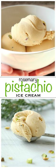 Salted caramel ice cream with pistachios and fresh rosemary | Foodness Gracious