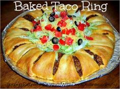 Baked Taco Ring Ingredients: 1 lb. ground beef 1 package (1.25 oz) taco seasoning mix 1 c. (4 oz) shredded cheddar cheese 2 tbs water 2 8-oz packages refrigerated crescent rolls 1 medium green bell pepper 1 c. salsa (optional) 3 c. lettuce, shredded (we used more — ¾ a head) 1 medium tomato, diced ¼ c. onion, chopped ½ c. pitted ripe olives sour cream