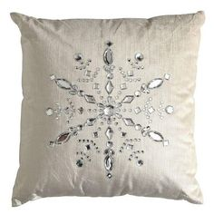Rhinestone Snowflake Pillow (Christmas inspiration, could be a DIY project. Diy Pillows, Decorative Pillows, Throw Pillows, All Things Christmas, Christmas Crafts, Christmas Decorations, Frozen Bedroom, Snowflake Pillow, Jingle All The Way