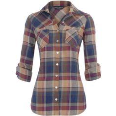 Burgandy check shirt ($40) ❤ liked on Polyvore featuring tops, shirts, blusas, camisas, plaid, women's clothing, western style shirts, shirt top, checked shirt and plaid shirt