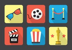Collection of minimal flat style movie icons with long shadow and colorful backgrounds