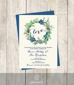 Floral Wedding Invitation DIY // Navy Blue by JadeForestDesign