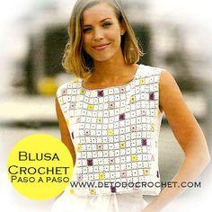 Bildergebnis für blusas tejidas a crochet sin mangas Crochet Jacket Pattern, Crochet Jumper, Black Crochet Dress, Granny Square Crochet Pattern, Crochet Crop Top, Crochet Blouse, Cotton Crochet, Moda Crochet, Pull Crochet