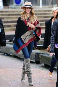 The Official Jacket of Fall Is...The Burberry Checked Cape   Rosie Huntington-Whiteley