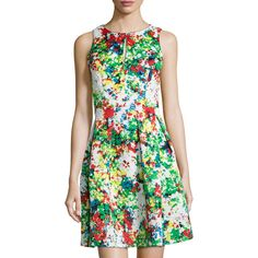 Catherine Catherine Malandrino Fawn Floral-Print Quilted Sleeveless... ($40) ❤ liked on Polyvore featuring dresses, blanc gard, pleated dress, floral dress, pleated fit and flare dress, floral sleeveless dress and sleeveless pleated dress