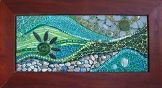 mosaic with glass, rocks, seaglass