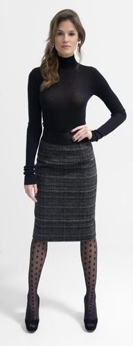 Black turtleneck -which should be drapier but what a great silhouette! textured skirt, textured tights