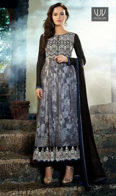 Amazing and Latest Grey Printed Georgette Anarkali Salwar Suit Amazing and latest grey georgette anarkali salwar suit with printed, resham, lace and patch border work.