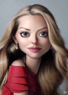 Amanda Seyfried in Caricature. Can you imagine how will your face look in caricature? Funny Caricatures, Celebrity Caricatures, Celebrity Portraits, Celebrity Drawings, Amanda Seyfried, Cartoon Faces, Funny Faces, Cartoon Art, John Malkovich