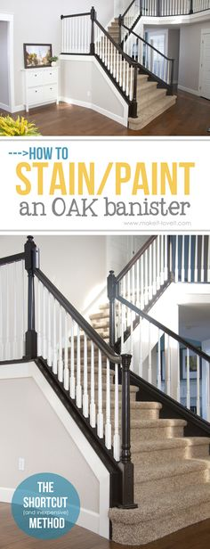 How to Stain/Paint an Oak Banister (the shortcut method…no sanding needed!) - How to Stain/Paint an Oak Banister (the shortcut method…no sanding needed! Wood Railings For Stairs, Stair Banister, Painted Stairs, Banisters, Painted Stair Railings, Banister Ideas, Painted Staircases, Bannister Ideas Painted, Stair Case Railing Ideas