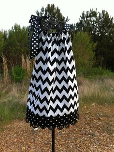 black and white chevron pillowcase dress in  by TreasuredLaundry, $23.00