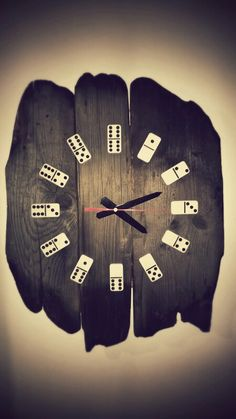wooden clock with domino