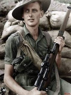 Aussie Sniper with his Smle No1 MK III ( Lee-Enfield)