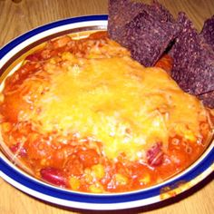 Low carb steak chili with no beans...even though the picture shows delicious beans and corn chips and the whole thing is smothered in heavenly cheese.