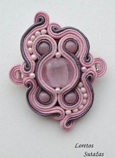 Pink Soutache Brooch – Handmade