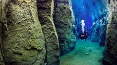 The only place in the world where you can swim between two continents the Silfra fissure in Iceland's Thingvellier National Park is where the North American and Eurasian tectonic plates meet.
