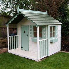 outdoor wooden playhouse near me kit with slide Childrens Playhouse, Backyard Playhouse, Build A Playhouse, Playhouses For Girls, Painted Playhouse, Kids Wooden Playhouse, Girls Playhouse, Playhouse Ideas, Cubby Houses