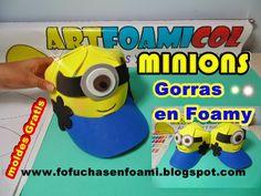 Mis Fofuchas 2013 Artfoamicol: LOS MINIONS GORRAS EN FOAMY SUPER FACIL CON MOLDES