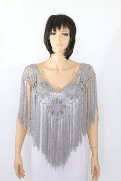 Gray poncho cape Bridal shawl crochet shawl wedding by ettygeller